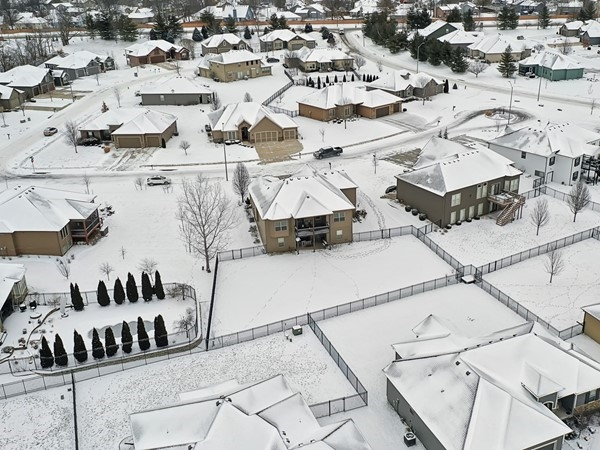 Snow covered aerial of this beautiful subdivision