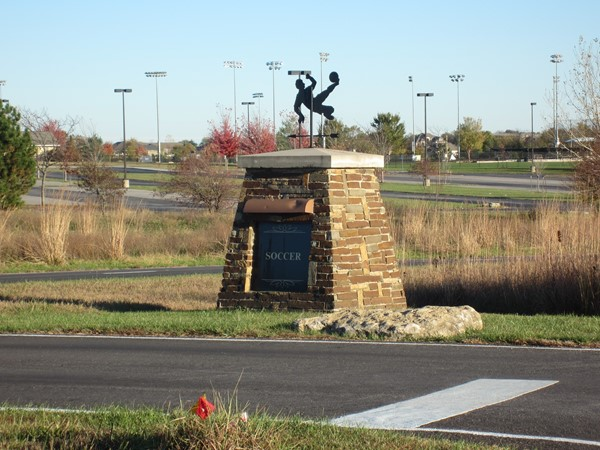 Landmark sign for the Legacy Park soccer fields