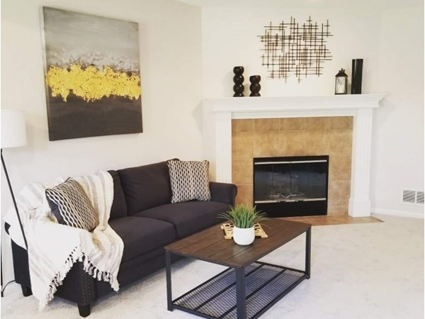A staged living room at Hidden Ridge Condos, in Blue Springs. Courtesy of Staging Dreams