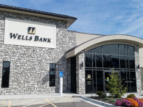 Wells Bank is located across from the post office. Newly remodeled location!! Great people