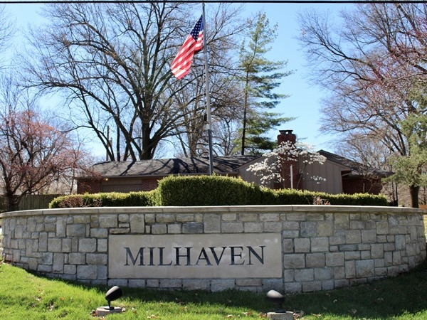 Main entrance to Milhaven located off of Shawnee Mission Parkway in between Lamar and Nall