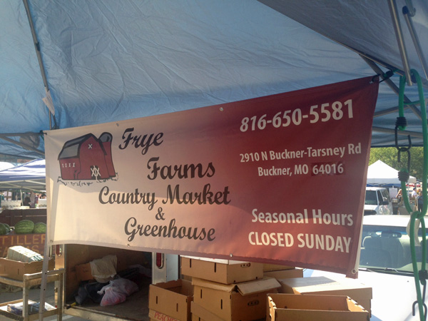 Frye Farms at the City Market. Fresh produce from Buckner, MO