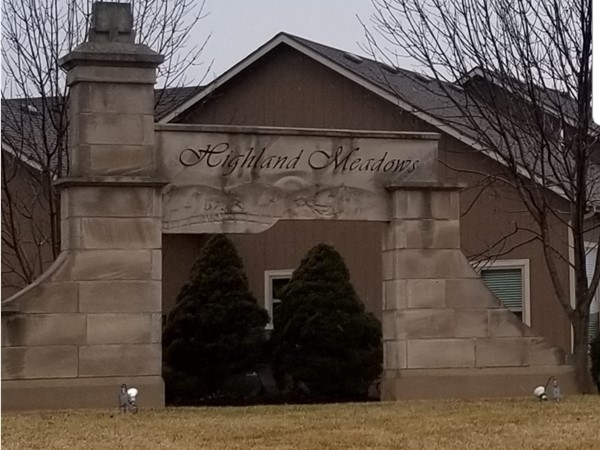 The entrance to Highland Meadows Subdivision, in Lee's Summit