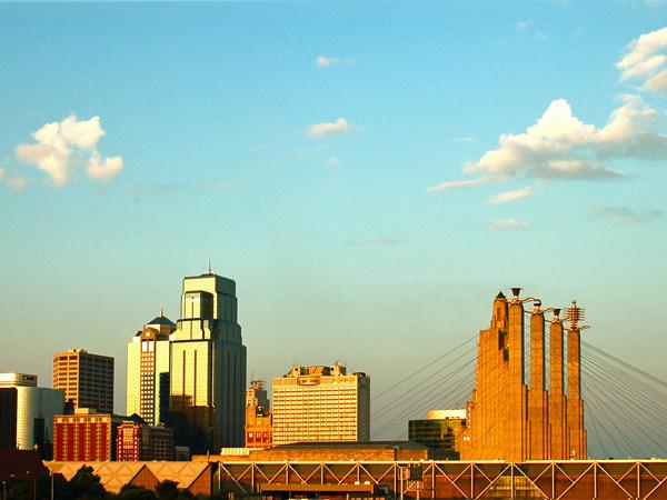The sun falling on a beautiful Kansas City skyline.