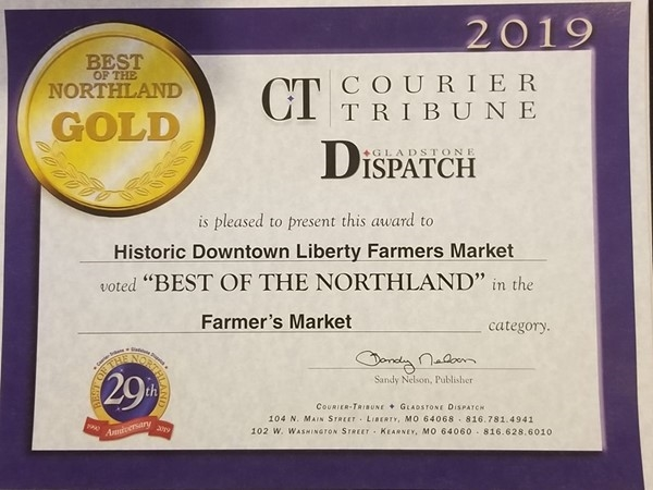 Congratulations to Historic Downtown Liberty Farmer's Market on winning Best in the Northland