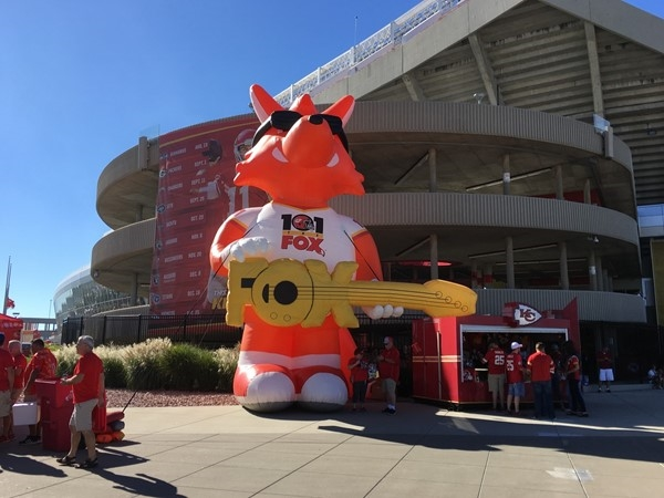 101 the Fox is ready to greet fans at a Kansas City Chiefs game