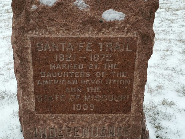 This monument dedicated by The Daughters of the American Revolution about the Santa Fe Trail