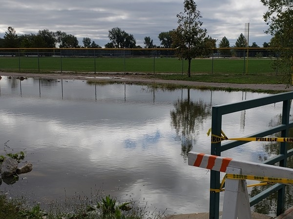 The river is on the rise at English Landing Park and the park is closed