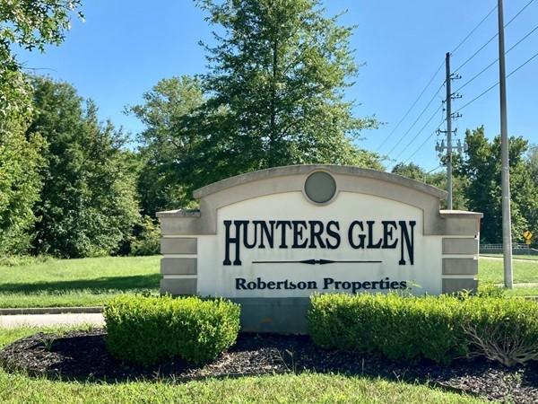 Entrance sign at Hunters Glen subdivision in Northland Kansas City, MO