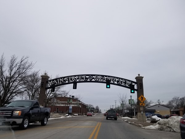 Mainstreet Grandview sign, near River Oaks Subdivision, in Grandview