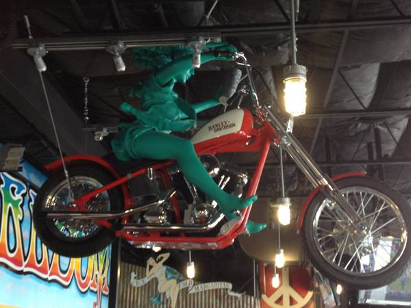 Hanging From The Ceiling - The Statue Of Liberty On A Harley!!