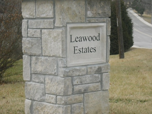 Leawood Estates Subdivision entry marker