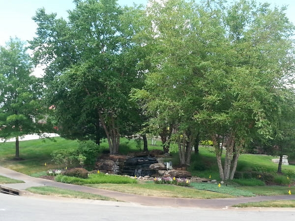 A great waterfall in Falcon Ridge among beautifully landscaped yards