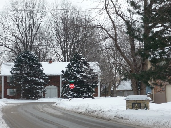 One of the entrances to Country Club Gardens Subdivision during winter