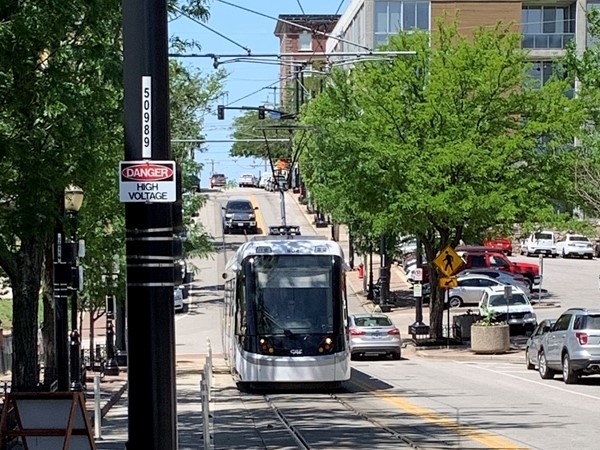 Waiting on the Tram at the City Market. A great way to get around downtown Kansas City