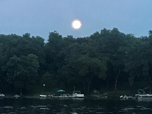 "Beautiful moon rising over ""party cove"" last night"