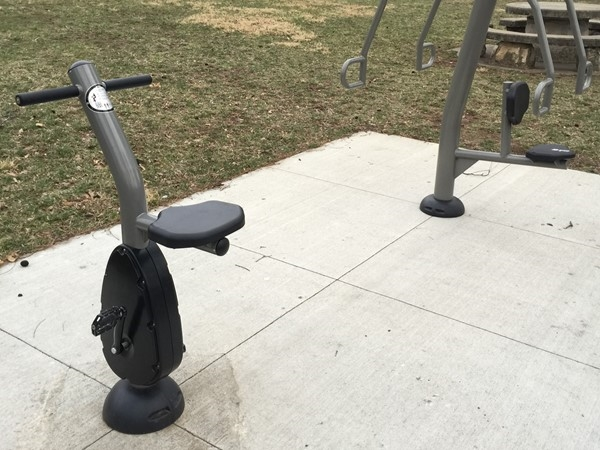 A variety of workout machines located throughout Migliazzo Park