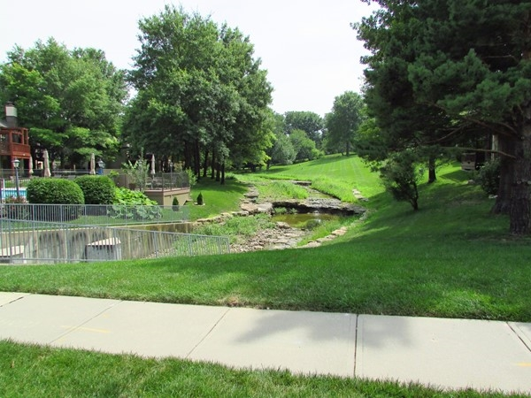 Landscaped creek runs through the area