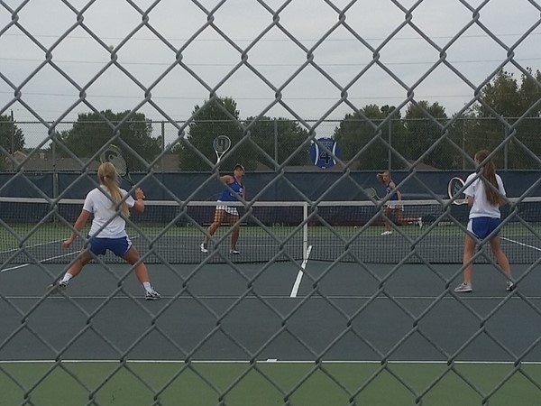 Grain Valley JV tennis finishing up their last match of the season