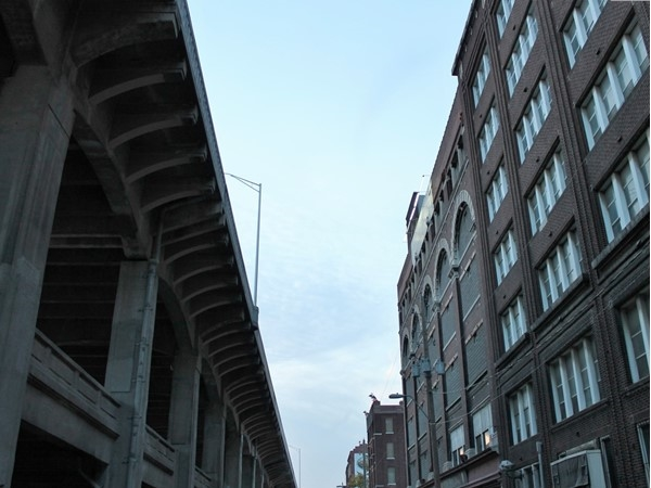 View of 12th Street trafficway viaduct bridge and historic buidings near Mulberry Street