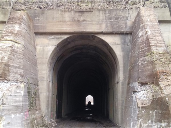 Built in 1903-04, the 441 foot long Vale tunnel is part of the now inactive Rock Island RR Line