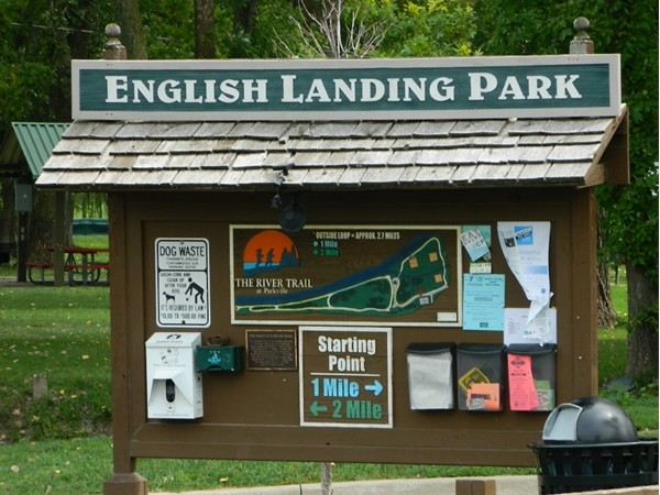 English Landing Park has trails for walks along the Missouri River, picnic and play areas