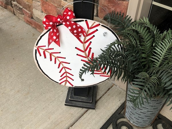Love this baseball wreath my son and I made in Hills of Oakwood for the season and Mother's Day