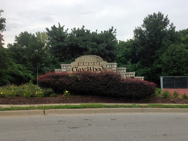 Claywoods Subdivision Entrance