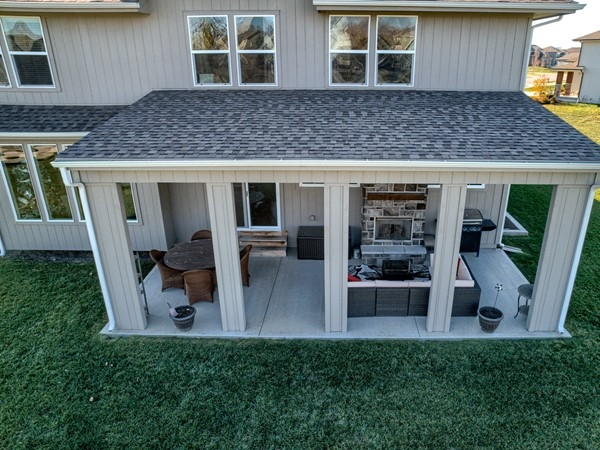 Enjoy the expanded patio of this Makenna complete with outdoor fireplace