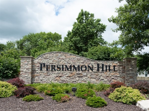 Persimmon Hill neighborhood entry monument. Adjacent to Olathe West High School