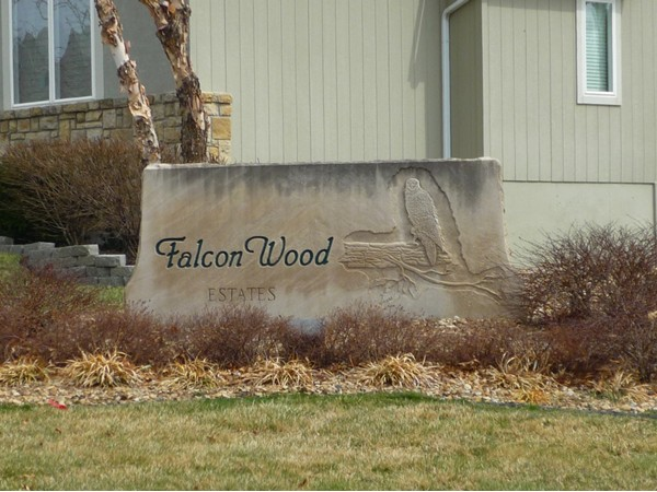 The sign at the entrance to Falcon Wood Estates