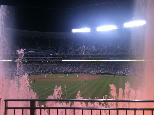 View through the fountains at Kauffman Stadium