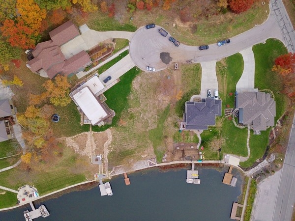 Aerial view of the only buildable lot for sale in Weatherby Lake