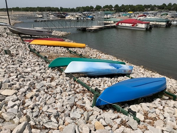 Kayaks are ready to go in the lake