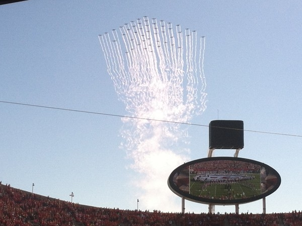 Record breaking flyover at Arrowhead Stadium, home of the Kansas City Chiefs