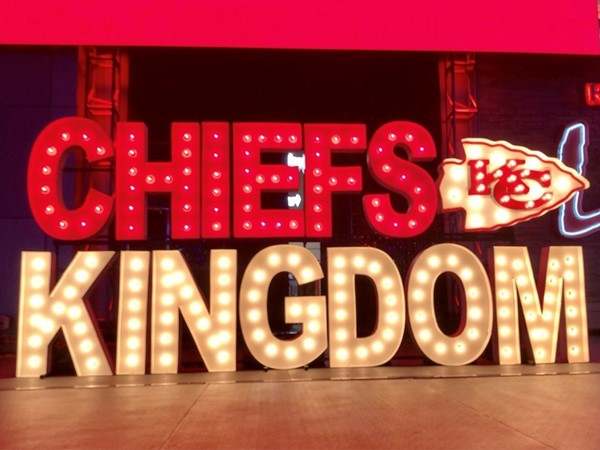 Kansas City loves their Chiefs! Check this awesome Chiefs Kingdom sign, courtesy of Alpha Lit KC!