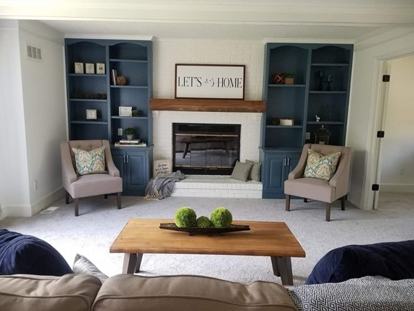 A beautifully staged living room at Brittany Brooke Subdivision done by Staging Dreams