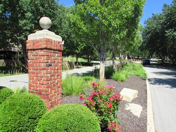 Landscaped common area in the Woodlands