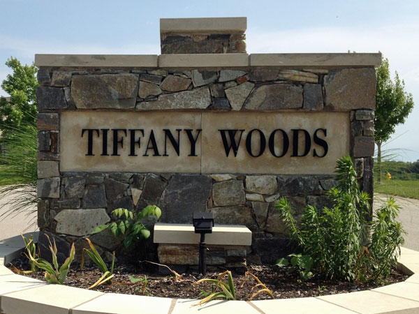 Tiffany Woods subdivision entrance