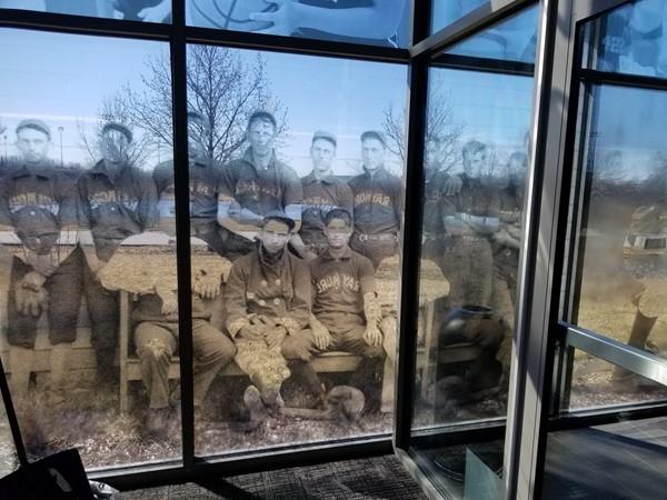 Window art inside the Raymore Activity Center (RAC), in Raymore, Missouri