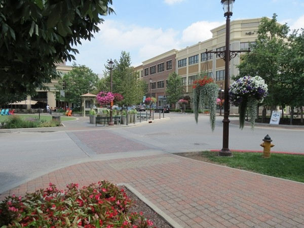 Enjoy the beautiful flowers in the Park Place Shopping District