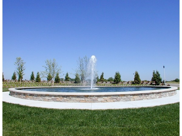 Fountain at entrance to Prairie brook