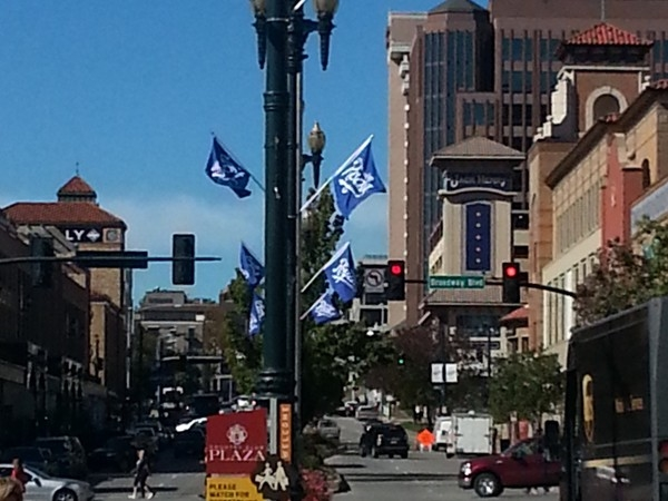 Flags are flying on the Plaza! We love our Royals