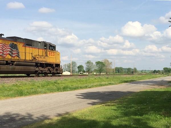 Train passing through historic Levasy