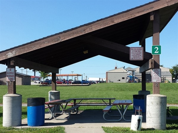 Picnic shelter in the park at the Grain Valley Community Center
