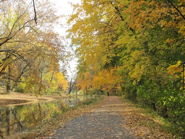 Enjoy scenic trails for hiking, biking and kayaking along the D&R Canal in the fall