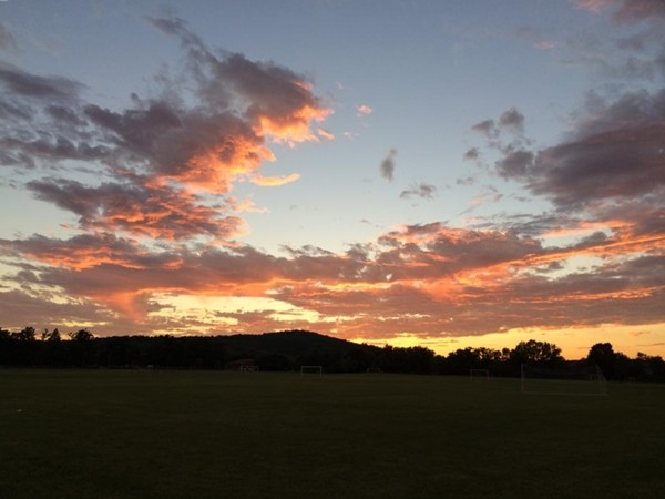 Sunset at the Field of Dreams, part of the recreation complex in Great Meadows