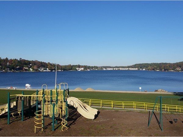 The Lake Hopatcong beach and playground area at Netcong