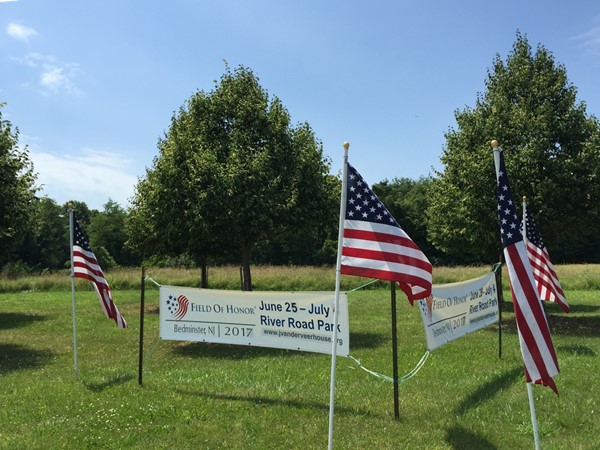 Flags are placed at River Road Park for July 4th, creating a Field of Honor