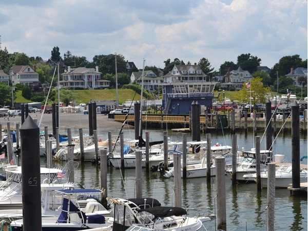 View from the fishing pier overlooking the harbor office and boat launch
